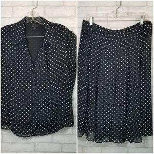 Nine west blouse/skirt set size 14 polka dots